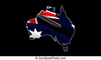 Flag and map of Australia looping