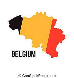 Flag and map of Belgium