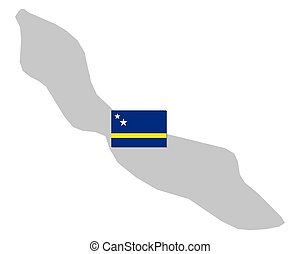 Flag and map of Curacao