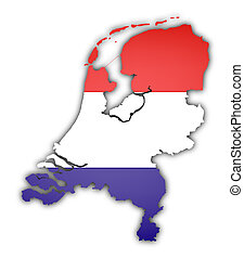 flag and map of netherlands on white background