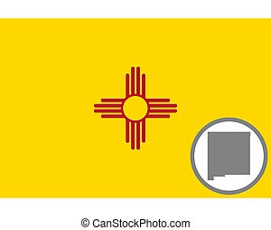 Flag and map of New Mexico