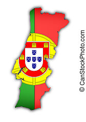 flag and map of portugal on white background