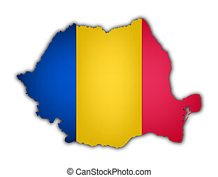 flag and map of rumania on white background