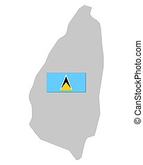 Flag and map of Saint Lucia