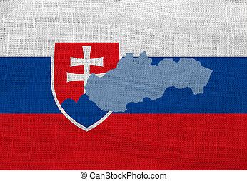 Flag and map of Slovakia on a sackcloth