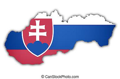 flag and map of slovakia