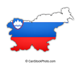 flag and map of slovenia on white background