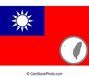 Flag and map of Taiwan