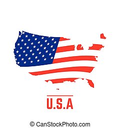 Flag and map of The United States