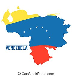 Flag and map of Venezuela