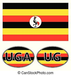 Flag and stickers on the car of Uganda, vector sticker flag...