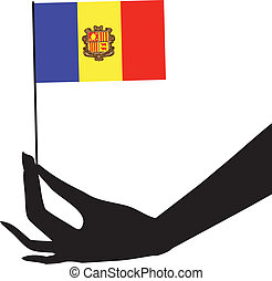 flag andorra, hans, hånd
