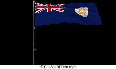 Flag Anguilla on transparent background, 4k prores 4444 footage with alpha