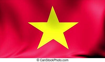 flag., animation., seamless, faire boucle, vietnam, fond