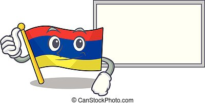 Flag armenia cartoon with in thumbs up with board character