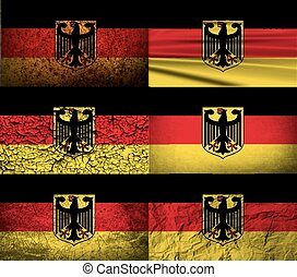 Flag Arms of Germany with old texture. Vector - Flag of Arms...