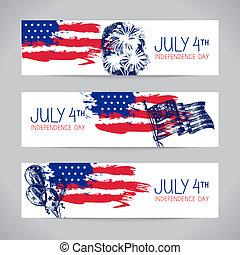 flag., arrière-plans, américain, 4ème, bannières, juillet, indépendance
