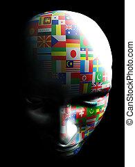 flag art on human face