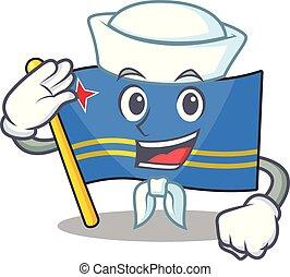 sailor flag aruba isolated with the cartoon vector illustration