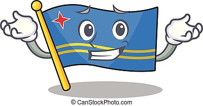 cute grinning aruba flag with character shape vector illustration