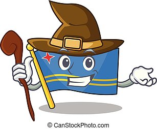 flag aruba smiling in with cartoon witch vector illustration