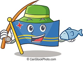 flag aruba smiling in with cartoon fishing vector illustration