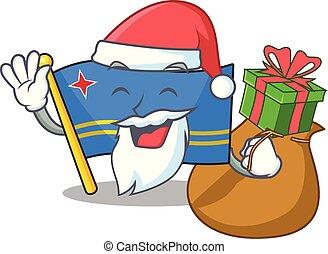 flag aruba character santa bring gift cartoon style mascot vector illustration
