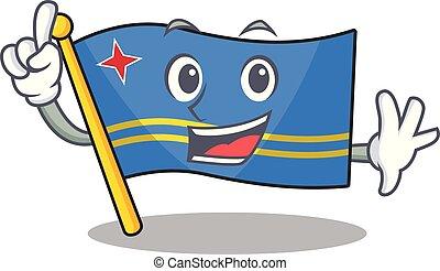 flag aruba character finger cartoon style mascot vector illustration