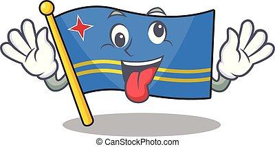 flag aruba character bring gift cartoon style mascot vector illustration