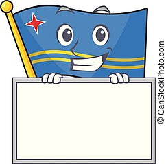 grinning with board flag aruba isolated with the cartoon vector illustration
