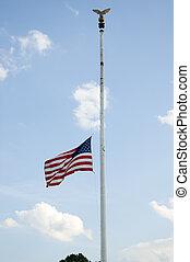 Flag at half mast - American flag shown flying at half mast.
