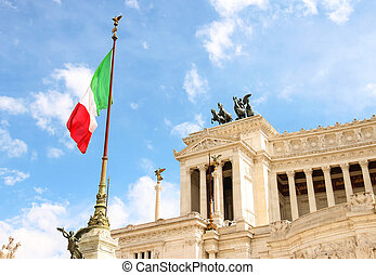 Flag at the monument to Victor Emmanuel II. Piazza Venezia, Rom