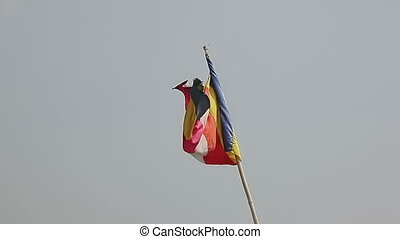 Flag atop of Taungkalat Popa monastery - Myanmar flag atop...