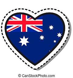 Flag Australia heart sticker on white background. Vintage vector love badge. Template design element. National day. Travel sign.