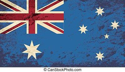 flag., australiano, grunge, fondo.