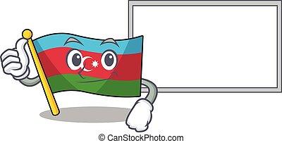 Flag azerbaijan cute cartoon character Thumbs up with board