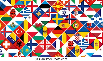 Flag background of European countries for Football competition.