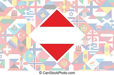 Flag background of European countries with big flag of Austria in the centre for Football competition.