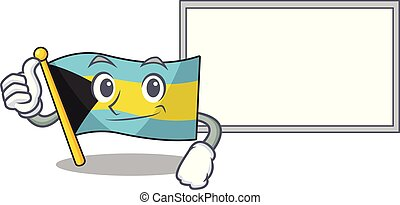 Flag bahamas cartoon with in thumbs up with board character