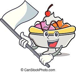 Flag banana split mascot cartoon vector illustration