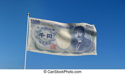 flag banknote japan - Banner with Japan yen banknote on blue...