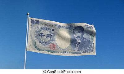 flag banknote japan