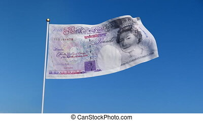 flag banknote UK - Banner with U.K. pound banknote on blue...