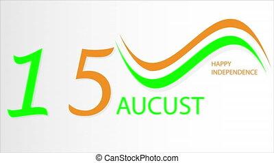 Flag banner Happy Indian Independence Day, art video illustration.