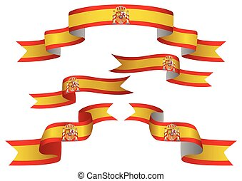 Set of Spain insignia in different shape of ribbons