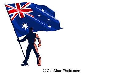 Flag Bearer Australia - Isolated flag bearer holding the...