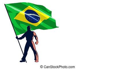 Flag Bearer Brazil - Isolated flag bearer holding the flag...