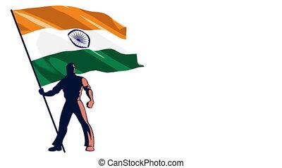 Flag Bearer India - Isolated flag bearer holding the flag of...