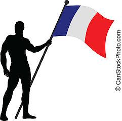 Flag Bearer_France - Vector illustration of a flag bearer