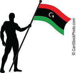 Flag Bearer_Libya - Vector illustration of a flag bearer